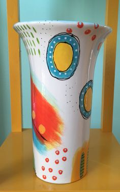 Ceramic vase I painted at a paint your own pottery shop.