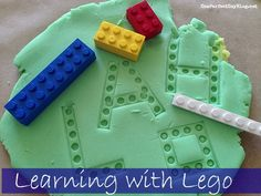 Lego and play dough are two of my son's favorite ways to play. I set up a very simple invitation to play wi Kindergarten Literacy, Early Literacy, Preschool Classroom, Literacy Centers, Lego Activities, Alphabet Activities, Preschool Activities, Learning Support, Fun Learning