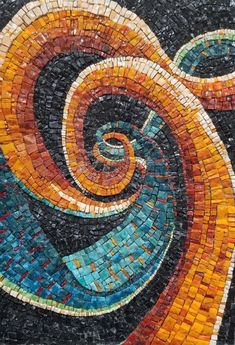 Mosaic Art -Rainbow Dish with Spiral Motif, Platter, Mosaic Bowl, Wall or Table Decoration, Medium Size Gaudi Mosaic, Mosaic Diy, Mosaic Wall, Mosaic Glass, Mosaic Ideas, Mosaic Mirrors, Stained Glass Birds, Stained Glass Panels, Fused Glass