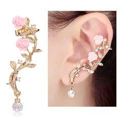 Amazon.com: CIShop Pink Rose Diamond Ear cuff Earrings stud Punk Style Ear Wrap(left ear): Toys & Games