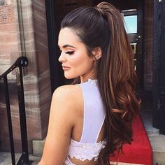 lovely half up half down with ponytail + curls | prom hairstyles for long hair | #promhair
