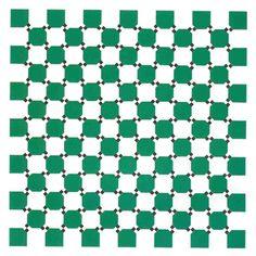 Vervormde Lijnen ?    Toch zijn ze allemaal recht !    Het lijkt alsof de verticale en horizontale lijnen  vervormd zijn en de figuur lijkt te golven.