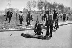 Fourteen-year-old Mary Ann Vecchio screams over the body of 20-year-old Kent State student Jeffrey Miller after he was shot by the Ohio National Guard during a protest against the U.S. invasion of Cambodia during the Vietnam War on May 4, 1970