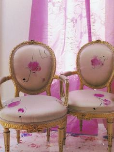 handpainted silk chairs by artist Carolyn Quatermaine