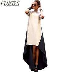 2015 New Arrival Autumn Ladies Fashion High Collar Irregular Hem Patchwork Dress Women Long Maxi Dresses Vestidos Plus Size ** AliExpress Affiliate's Pin. View this trendy piece in details on AliExpress website by clicking the image