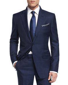 O\'Connor+Base+Plaid+Two-Piece+Suit,+Navy+by+TOM+FORD+at+Neiman+Marcus.