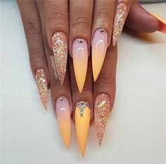 Long Stiletto Nails With An Ombre Design Explore trendy designs for long medium and short stiletto nails: chrome ombre holographic French matte or glitter. Long Stiletto Nails, Long Nails, Short Nails, Long Nail Designs, Nail Art Designs, Nails Design, Colorful Nail, Colorful Makeup, Manicure E Pedicure