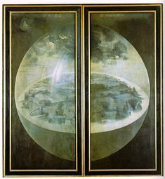 Outer wings of The Garden of Earthly Delights showing the creation of the world by Hieronymus Bosch
