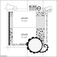 2 Fotograf, mini bir yazı alanı ve desenli kağıtlar ile yapabileceğiniz çok hoş bir sayfa şablonu