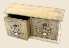 Drewniane pudełko na herbatę i kawę
