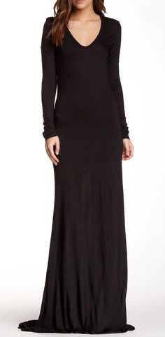 L'Agence Long Sleeve V-Neck Maxi Dress