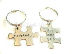 Hand Stamped Couples Keychain Set-Personalized Necklace-Wedding keychain gift. $30.00, via Etsy.