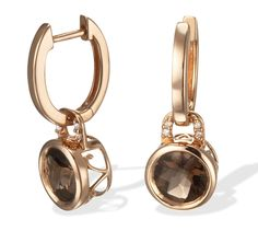 14k Rose Gold Hoop Earrings with Smokey Topaz and Diamond Drops