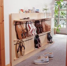 Living Room Shoe Storage Ideas - Living Room Shoe Storage Ideas , Diy Space Saving Hanging Shoe Rack the Idea King Hanging Shoe Rack, Hanging Shoes, Diy Shoe Rack, Shoe Storage, Storage Ideas, Diy Storage, Storage Solutions, Make Your Own Shoes, Wooden Shoe Racks