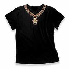 Indian Necklace Pendant Tee  $69.98  The tradition of jewelry making on the Indian subcontinent is characterized by a vast and complex heritage spanning at least five thousand years. Created and worn as symbolic expressions of religious beliefs and as indicators of social and economic status, Indian jewelry embodies a rich cultural significance beyond the value of its precious materials.