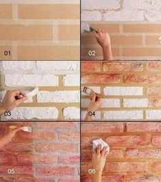 How to construct DIY brick walls? - No matter you are looking to build a small patio DIY brick wall or an outside boundary wall for your house there are some basics that you must know be. Fake Brick Wall, Faux Brick, Brick Walls, Exposed Brick, Diy Wall Painting, Faux Painting, House Painting, Diy Wand, Faux Murs