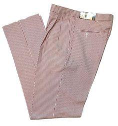 "BERLE Seersucker Pants 34 Brick Red Striped Pleated Unhemmed 37"" Golf Cruise USA #Berle #PleatedFront"