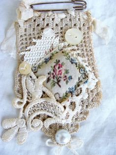 Vintage Lace and Crochet Kilt Pin, Brooch, Pendant, Textile Pendant, Fabric Art… Fiber Art Jewelry, Textile Jewelry, Fabric Jewelry, Jewellery, Fabric Art, Fabric Crafts, Sewing Crafts, Vintage Lace, Vintage Sewing