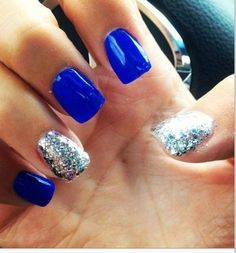 Electric blue (Nails Inc. Baker Street) and silver nails Fancy Nails, Pretty Nails, Sparkle Nails, Bling Nails, Gold Sparkle, Blue And Silver Nails, Silver Glitter, Blue Gel, Bright Blue Nails