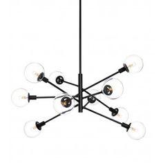 Sonneman 4599.25C Satin Black Orb 10 Light Pendant Lamps.com