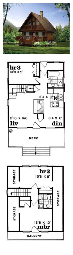 Narrow Lot Home Plan 55007 Total Living Area: 1073 sq., 3 bedrooms and bathrooms. Cabin House Plans, Cabin Floor Plans, Best House Plans, Small House Plans, Cabin Homes, Cottage Homes, Log Homes, Cabins And Cottages, Small Cabins
