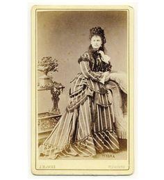 ELEGANT LADY fine bustle dress CDV PHOTO 1870s fancy Victorian fashion | eBay (Look at that tower of braids! Love it. LC)