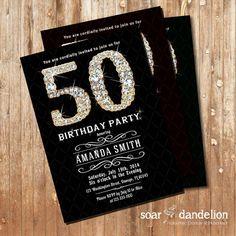 Elegant 50th Birthday Party Invitation. 30th 40th by soardandelion, $9.90