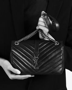 saintlaurent, Classic Medium MONOGRAM SAINT LAURENT Chain Bag in Black Matelassé Leather