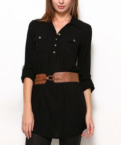 Look at this Black Button-Front Tunic - Women on #zulily today!