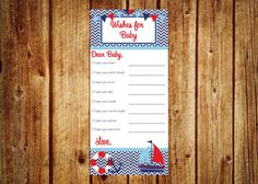 Instant Download- Ahoy It's A Boy Wishes For Baby-  Baby Shower Game, Nautical Theme, DIY Printable- Digital File on Etsy, $6.00