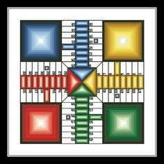 """""""Ludo Game"""" counted cross-stitch pattern by Noahs Dreams. [Note: Despite the pattern name, this is a Parcheesi board. Needlepoint Patterns, Cross Stitch Patterns, Stitch Games, Tapestry Kits, Game Themes, Pattern Names, Wall Patterns, Diy Christmas Ornaments, Beautiful Patterns"""