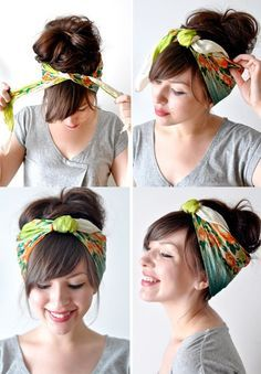 There is always this classic look for a head scarf.