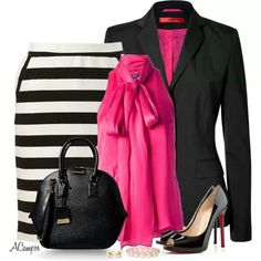A fashion look from March 2014 featuring Ralph Lauren Blue Label blouses, HUGO blazers and Elle skirts. Browse and shop related looks. Classy Outfits, Casual Outfits, Cute Outfits, Fashion Outfits, Womens Fashion, Fashion Trends, Dress Outfits, Dresses, Fashion Tips