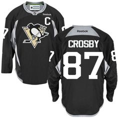 Reebok Pittsburgh Penguins  87 Men s Sidney Crosby Authentic Black Practice NHL  Jersey Mitchell And Ness 66f664589