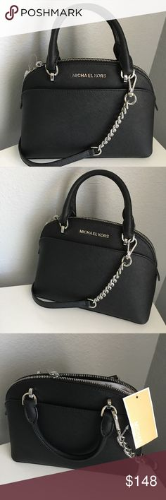 """Michael Kors Emmy Sm  Dome Satchel Saffiano leather dome satchel  with polished silver tone chain detail strap /hardware Features: top zip closure, front and back slip pockets. Dual rolled leather handles with a 3"""" drop, and a detachable chain and leather adjustable shoulder strap Interior: black signature lining with multifunction pockets  Size : about Measures just 9"""" (L) x 7 """" (H) x 3.75"""" (W) Michael Kors Bags Crossbody Bags"""