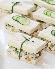 Gardening Herb Herbed Chicken Salad Tea Sandwiches - Southern Lady Magazine - Made with garden-fresh ingredients and garnished to perfection, these savory bite-size sandwiches will be the star of a springtime tea. Sandwich Recipes, Appetizer Recipes, Party Appetizers, Tea Recipes, Cooking Recipes, Party Recipes, Picnic Recipes, Cooking Tips, Cooking Games