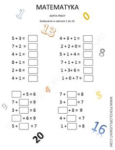 Karta pracy dla dzieci, Dodawanie w zakresie 1-10, matematyka Learning Time, Kids Learning Activities, Math 2, Learning Numbers, School Subjects, Your Teacher, Google Classroom, Math Worksheets, Preschool