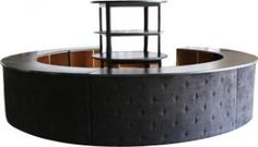 IF WHITE AVAILABLE -Onyx Tufted 16' Bar - Black Suede »   Designer8* Event Furniture Rental