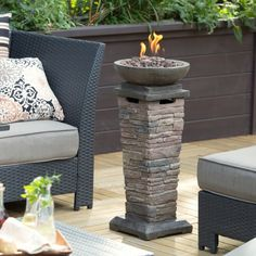 For a deck pick-me-up without the expense of a built-in fire feature, consider a portable one.