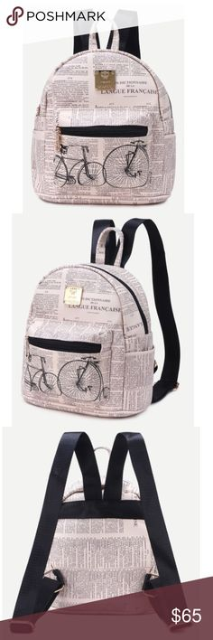 Beige PU bicycle print front zipper backpack! NEW! Material: PU// length: 22cm // width: 12cm // height: 23cm Bags Backpacks