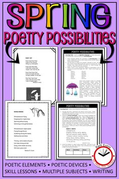 POETRY POSSIBILITIES - Spring Edition 18 poems about spring activities, weather, and holidays. Each poem has a teaching point about poetry. Also includes custom designed skill lessons and activities on a range of subjects. Forms Of Poetry, Poetry Unit, Writing Poetry, Poetry Activities, Spring Activities, Interactive Activities, Teaching Activities, Teaching Ideas, Reading Resources