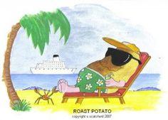 Baking on the beach Potato, Pikachu, Baking, Beach, Funny, Fictional Characters, Art, Art Background, Potatoes