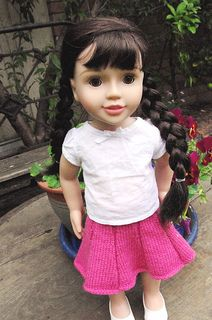 Ravelry: dolly rosy posy skirt pattern by Georgie Hallam Knitting Dolls Clothes, Doll Clothes, Crochet Toys, Knit Crochet, Girl Dolls, American Girl, Knitting Patterns, Flower Girl Dresses, Ravelry
