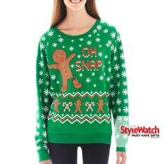 Oh Snap Holiday Sweatshirt found at Lori Ray I need this one! Ugly Christmas Jumpers, Ugly Xmas Sweater, Xmas Sweaters, Warm Outfits, Diy Clothing, Festival Fashion, Shirt Style, Sweatshirts, My Style