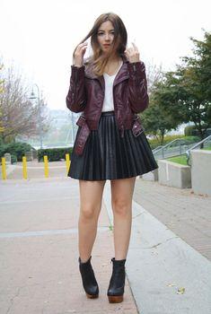 812e742ee4 Burgundy Leather Jacket, Blazers, Skater Skirt, Looks, Jackets, Shearling  Vest,