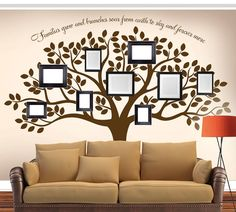 "Family Tree Decal - Tree Decal - Wall Decal - Family Wall Decal - Family Tree - Living Room Vinyl Decal 108"" x 90"" What better way to display photos of your loved ones than in our Family Tree Decal! Place your favorite framed photos all around the tree! (photos, frames and memories not included!) Large Size: (approx): 108""w x 90""h Small Size: (approx): 95""w x 80""h . The size of this decal is approximately 90"" high x 108"" wide. This decal can be made in different dimensions. Larger sizes may…"