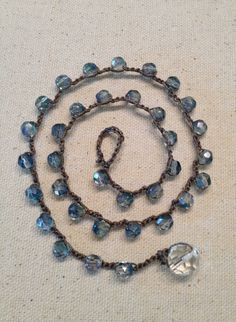 Crocheted Beaded Necklace light blue by KeyedUpDesigns on Etsy, $30.00
