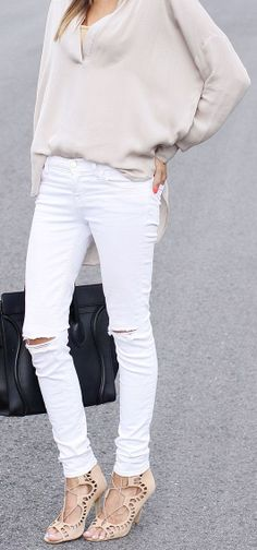 a7e8df1bea15 White Jeans  amp  Strappy Heels ♥ White Skinnies