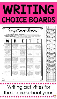 This is extremely helpful if you are looking to get your or grade students engaged in more creative writing. These montly writing choice boards are great for workstations or early finisher work during writers workshop! 4th Grade Writing Prompts, Fourth Grade Writing, 6th Grade Reading, Middle School Writing, Writing Classes, Writing Lessons, Teaching Writing, Writing Activities, Writing Workshop