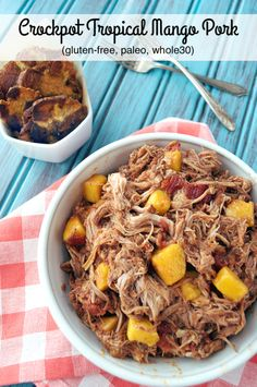Caribbean flavors combine in the crockpot to make this delicious Tropical Mango Pork served with tostones or in tacos topped with more mango and avocado!